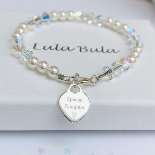 Christening gift bracelet for a Niece - FREE ENGRAVING